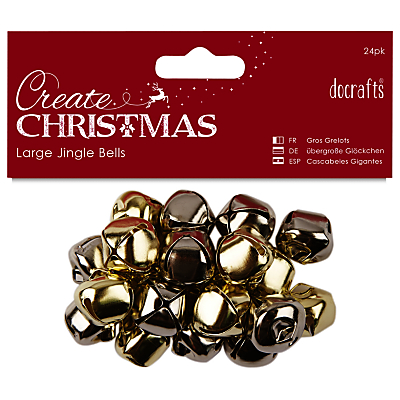 Image of Docrafts Large Jingle Bells, Gold/Silver, 20pcs
