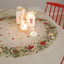 Buy Rico Holly Wreath Table Cloth Embroidery Kit, Neutral Online at johnlewis.com
