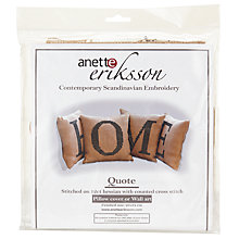 Buy Anette Eriksson Letter Pillow Cover Cross Stitch Kit, Natural Online at johnlewis.com