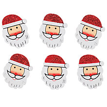 Buy John Lewis Glitter Santa Decoration, Pack of 6, Red/White Online at johnlewis.com