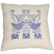 Buy Anette Eriksson Scandinavian Birds Pillow Cover Embroidery Kit, Cream/Blue Online at johnlewis.com