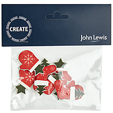 Buy John Lewis Wooden Glove And Stocking Stickers, Red Multi Online at johnlewis.com