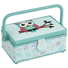 Buy John Lewis Unfilled Owl Small Rectangular Sewing Basket, Mint/Multi Online at johnlewis.com