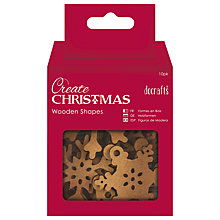 Buy Docrafts Wooden Snowflake Decorations, Pack of 10, Natural Online at johnlewis.com