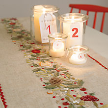 Buy Rico Holly Wreath Table Runner Embroidery Kit, Neutral Online at johnlewis.com