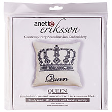 Buy Anette Eriksson Queen Cushion Cover Embroidery Kit, Cream Online at johnlewis.com