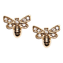 Buy Orelia Crystal Mini Bee Stud Earring, Gold Online at johnlewis.com