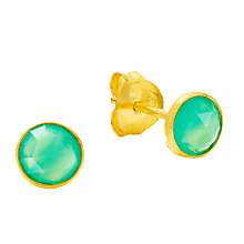 Buy Auren 18ct Gold Vermeil Round Chrysoprase Stud Earrings, Gold/Green Online at johnlewis.com