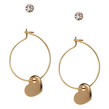 Buy Orelia Heart Hoop Earrings, Pack of 2, Gold Online at johnlewis.com