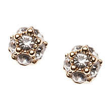 Buy Orelia Gold Toned Crystal Tiny Pave Ball Stud Earrings, Gold Online at johnlewis.com