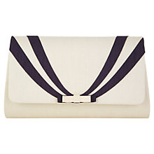 Buy Jacques Vert Stripey Bow Bag, Light Neutral Online at johnlewis.com