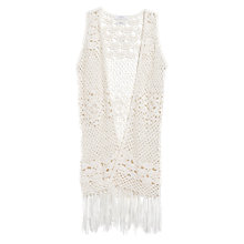 Buy Mango Fringed Crochet Top, Natural White Online at johnlewis.com