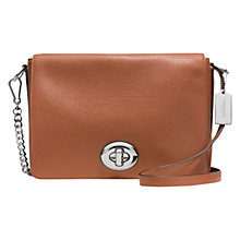 Buy Coach Turnlock Leather Shoulder Flap Saddle Bag, Brown Online at johnlewis.com