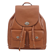 Buy Coach Turnlock Tie Leather Backpack, Brown Online at johnlewis.com