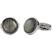 Buy Simon Carter Round Grey Mother of Pearl Etched Cufflinks, Silver Online at johnlewis.com