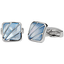 Buy Simon Carter Mother of Pearl Deco Fan Cufflinks, Blue Online at johnlewis.com