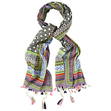 Buy White Stuff Tassel Detail Tile Print Scarf, Multi Online at johnlewis.com