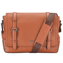 Buy BOSS Mauno Leather Messenger Bag, Tan Online at johnlewis.com
