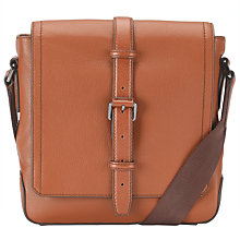 Buy BOSS Mauril Leather Reporter Bag, Tan Online at johnlewis.com