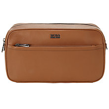 Buy BOSS Monte Leather Wash Bag, Tan Online at johnlewis.com