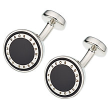 Buy BOSS Barry Round Brass Cufflinks, Black Online at johnlewis.com