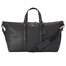 Buy BOSS Maas Leather Holdall, Black Online at johnlewis.com