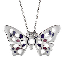 Buy Sharon Mills Vintage Silver Enamel Butterfly Pendant Necklace, Silver Online at johnlewis.com