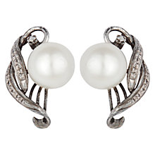 Buy Sharon Mills Vintage 14ct White Gold Cultured Pearl Stud Earrings, Silver Online at johnlewis.com