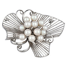 Buy Sharon Mills Vintage Silver Wave Pearl Brooch, Silver Online at johnlewis.com