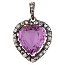 Buy Sharon Mills Vintage Silver Marcasite Amethyst Heart Pendant Necklace, Silver Online at johnlewis.com