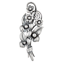 Buy Sharon Mills Vintage 1950s Flower Spray Brooch, Silver Online at johnlewis.com