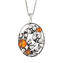 Buy Sharon Mills Vintage Danehof Silver Amber Oval Pendant Necklace, Silver Online at johnlewis.com