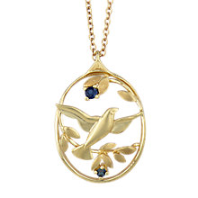 Buy Sharon Mills Vintage 9ct Gold Sapphire Oval Pendant Necklace, Gold Online at johnlewis.com