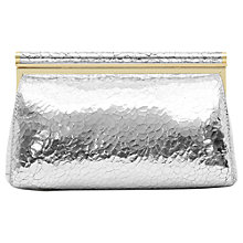 Buy Reiss Kyla Cracked Leather Clutch Bag, Silver Online at johnlewis.com
