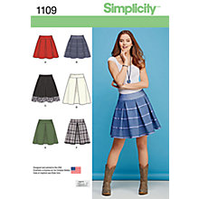 Buy Simplicity Women's Pleated Short Skirt Sewing Pattern, 1109 Online at johnlewis.com