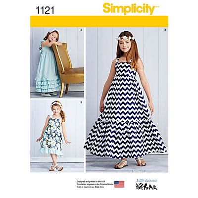 Simplicity Girls' Ruffle Detail Summer Dresses Sewing Pattern, 1121