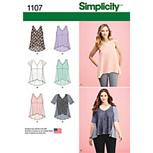 Buy Simplicity Women's Flared Asymmetric Hem Top Sewing Pattern, 1107 Online at johnlewis.com