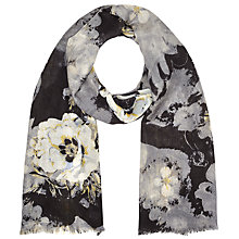 Buy John Lewis Floral Wool Scarf, Black Online at johnlewis.com