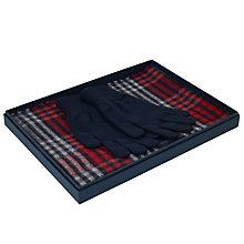 Buy Johnstons of Elgin Cashmere Check Scarf/Plain Gloves Gift Box, Navy Online at johnlewis.com