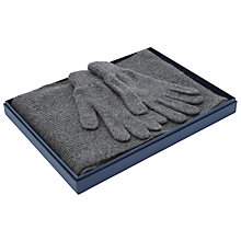 Buy Johnstons of Elgin Cashmere Ribbed Scarf/Plain Gloves, Grey Online at johnlewis.com