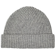 Buy Johnstons of Elgin Cashmere Beanie Hat, Grey Online at johnlewis.com