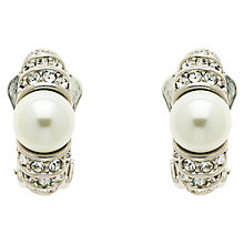 Buy Finesse Faux Pearl Swarovski Crystal Curve Clip-On Earrings, Silver Online at johnlewis.com