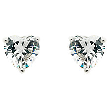 Buy Finesse Rhodium Plated Swarovski Crystal Heart Stud Earrings, Silver Online at johnlewis.com