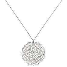 Buy Finesse Rhodium Plated Flower Pendant Necklace, Silver Online at johnlewis.com