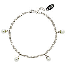 Buy Finesse Flower Top Faux Pearl Bracelet, White Online at johnlewis.com