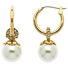 Buy Finesse Gold Plated Crystal Faux Pearl Flower Top Hoop Earrings, Gold Online at johnlewis.com