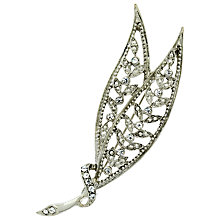 Buy Downton Abbey Silver Plated Crystal Leaf Brooch, Silver Online at johnlewis.com