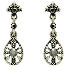 Buy Downton Abbey Silver Plated Hematite Teardrop Earrings, Silver Online at johnlewis.com
