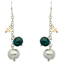 Buy Finesse Pearl Chain Drop Earrings, Silver Online at johnlewis.com