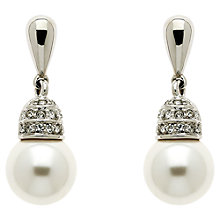 Buy Finesse Rhodium Plated Swarovski Crystal Faux Pearl Earrings, Silver Online at johnlewis.com